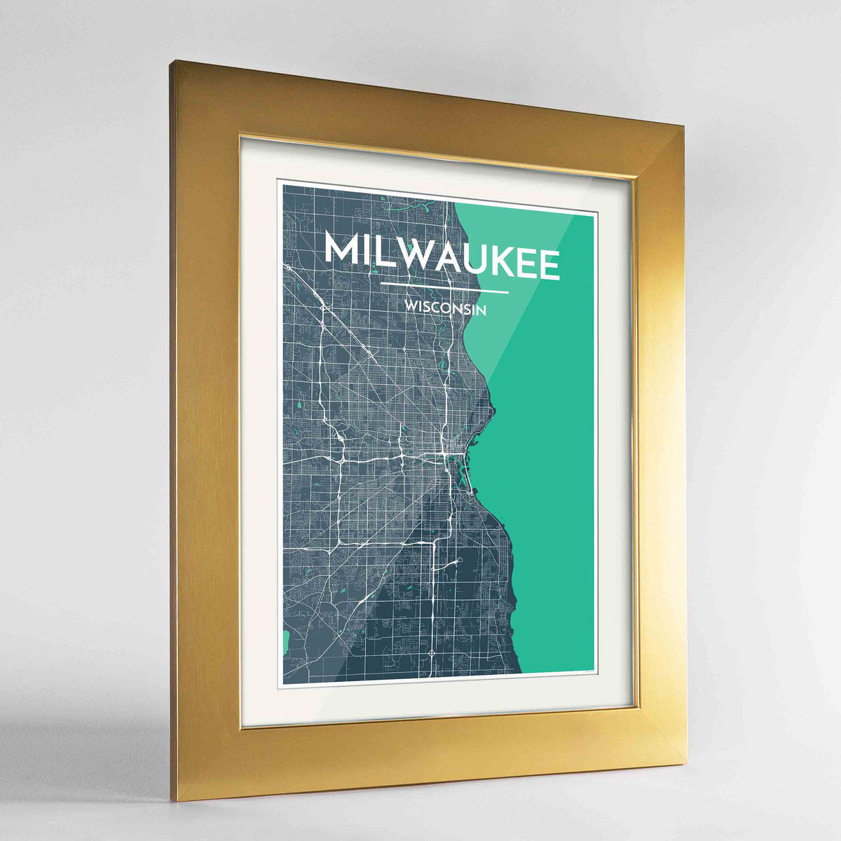 "Framed Milwaukee City Map 24x36"" Gold frame Point Two Design Group"