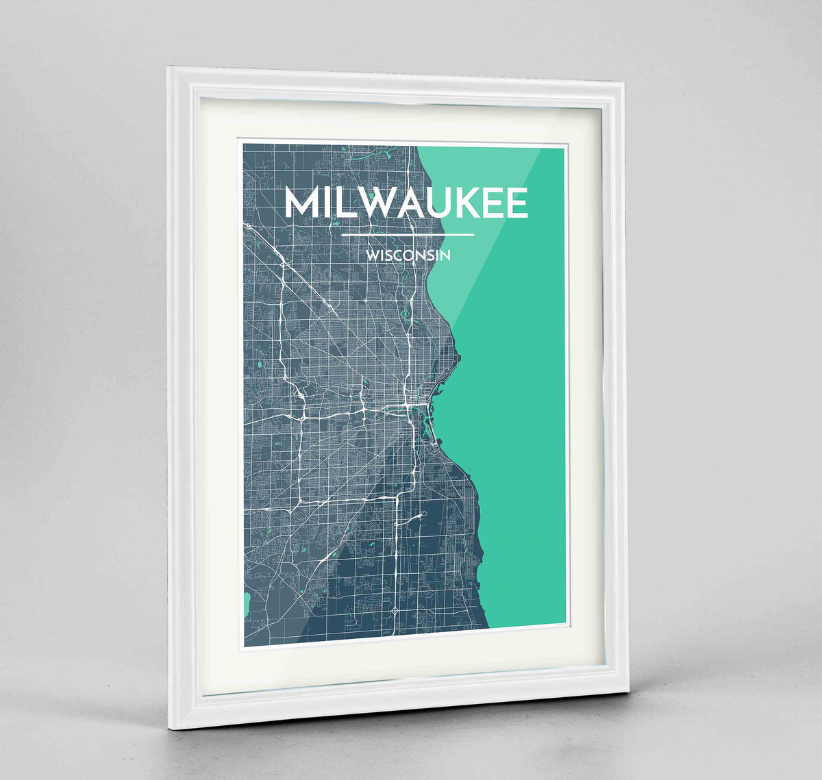 "Framed Milwaukee City Map 24x36"" Traditional White frame Point Two Design Group"