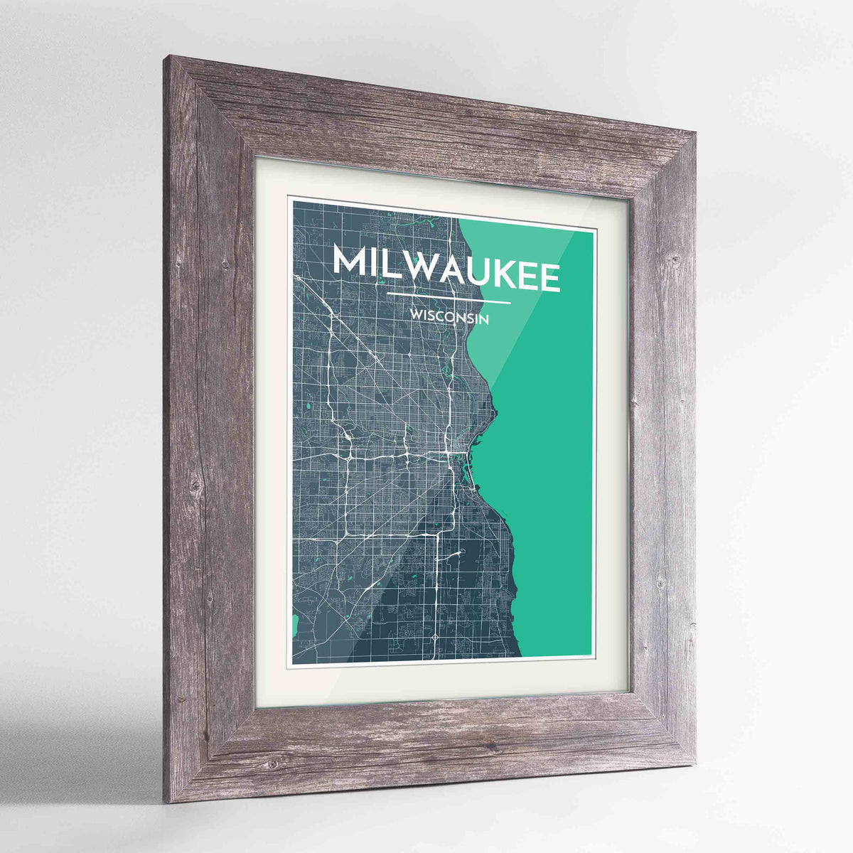 "Framed Milwaukee City Map 24x36"" Western Grey frame Point Two Design Group"