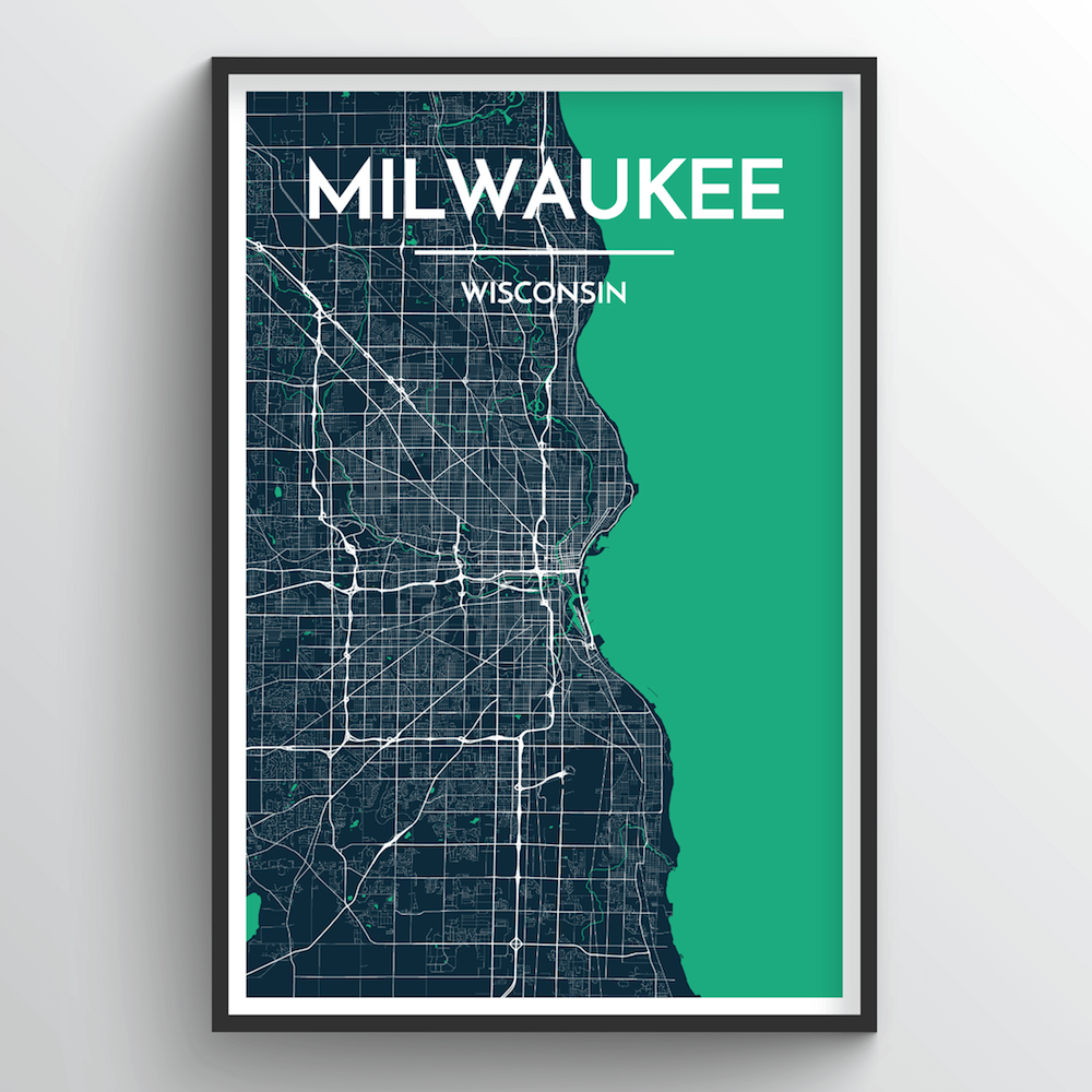 Milwaukee City Map Art Print - Point Two Design