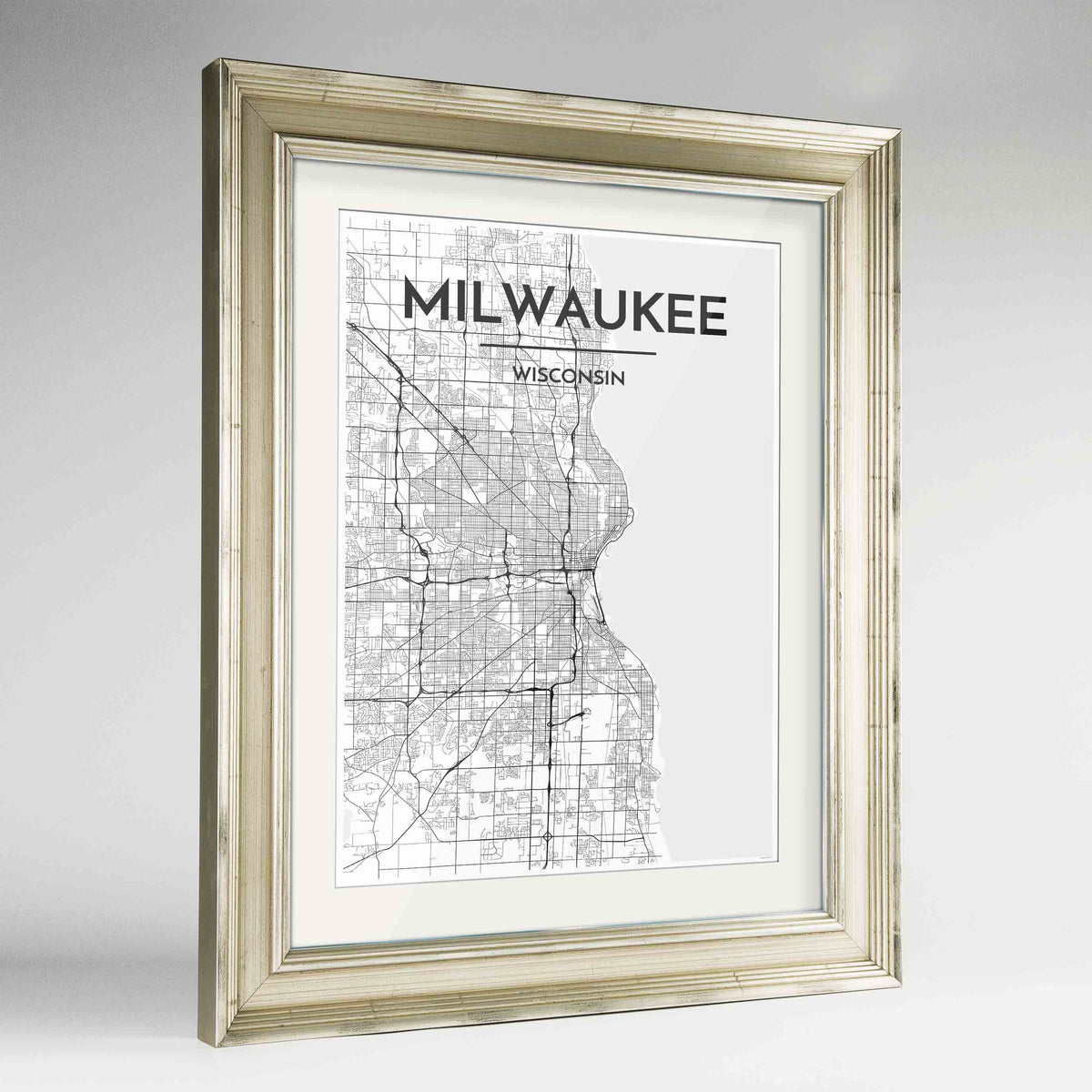 "Framed Milwaukee City Map 24x36"" Champagne frame Point Two Design Group"