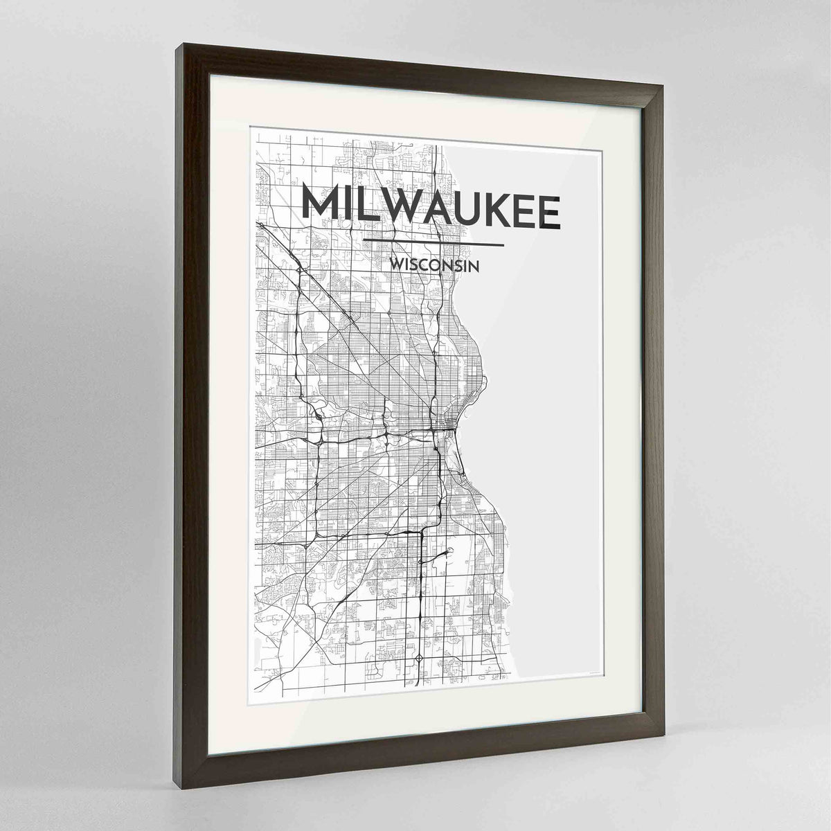 "Framed Milwaukee City Map 24x36"" Contemporary Walnut frame Point Two Design Group"