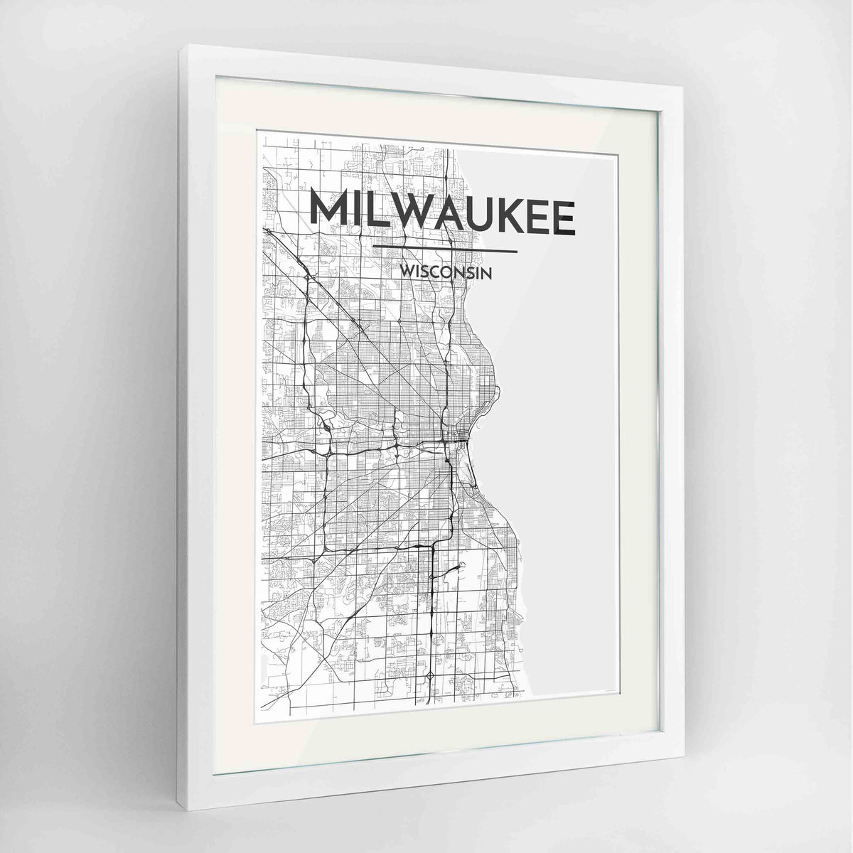 "Framed Milwaukee City Map 24x36"" Contemporary White frame Point Two Design Group"