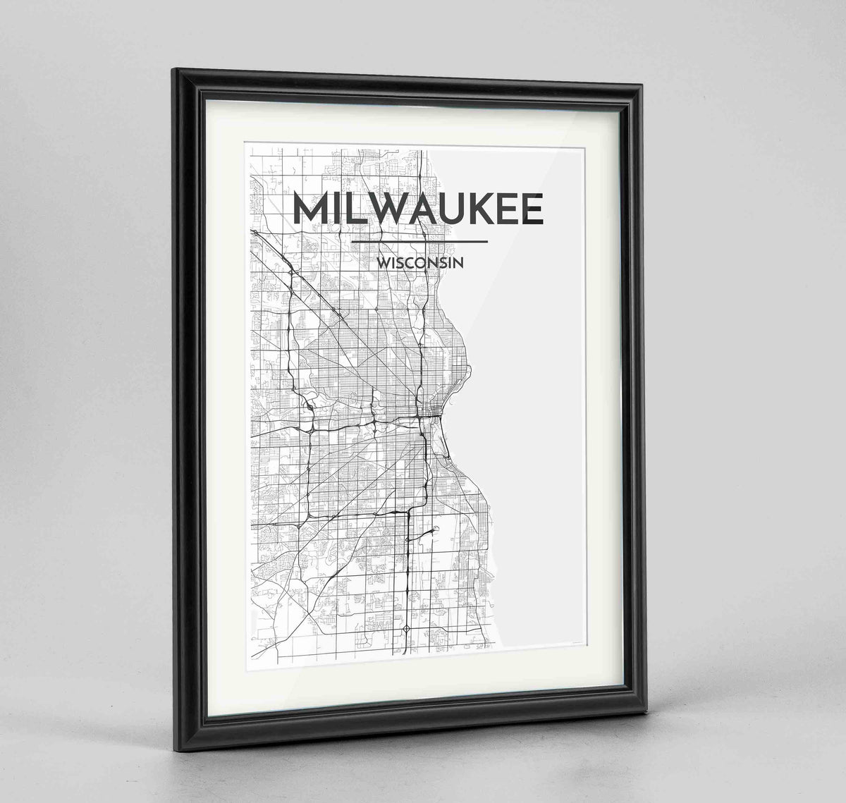 "Framed Milwaukee City Map 24x36"" Traditional Black frame Point Two Design Group"