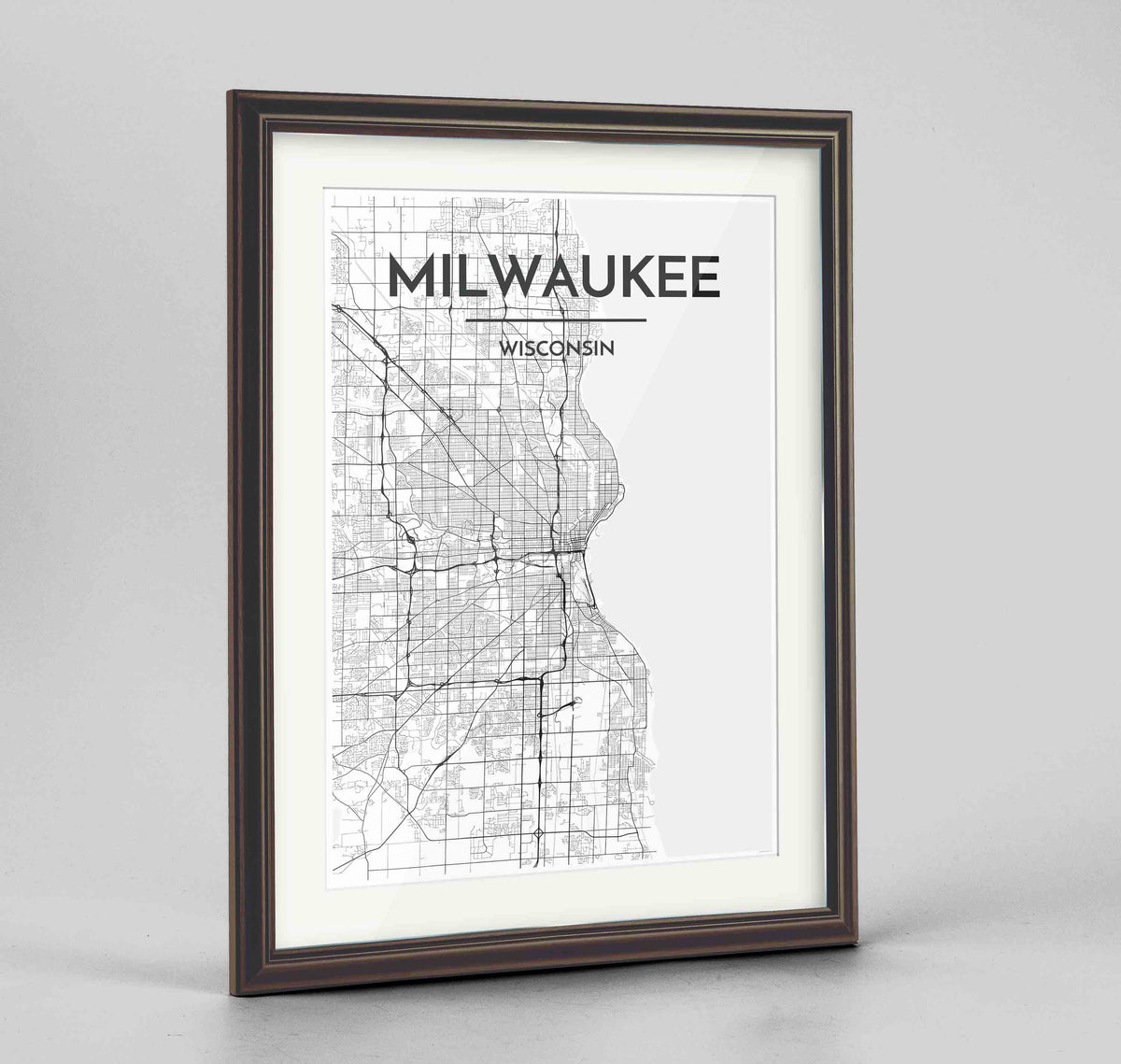 "Framed Milwaukee City Map 24x36"" Traditional Walnut frame Point Two Design Group"