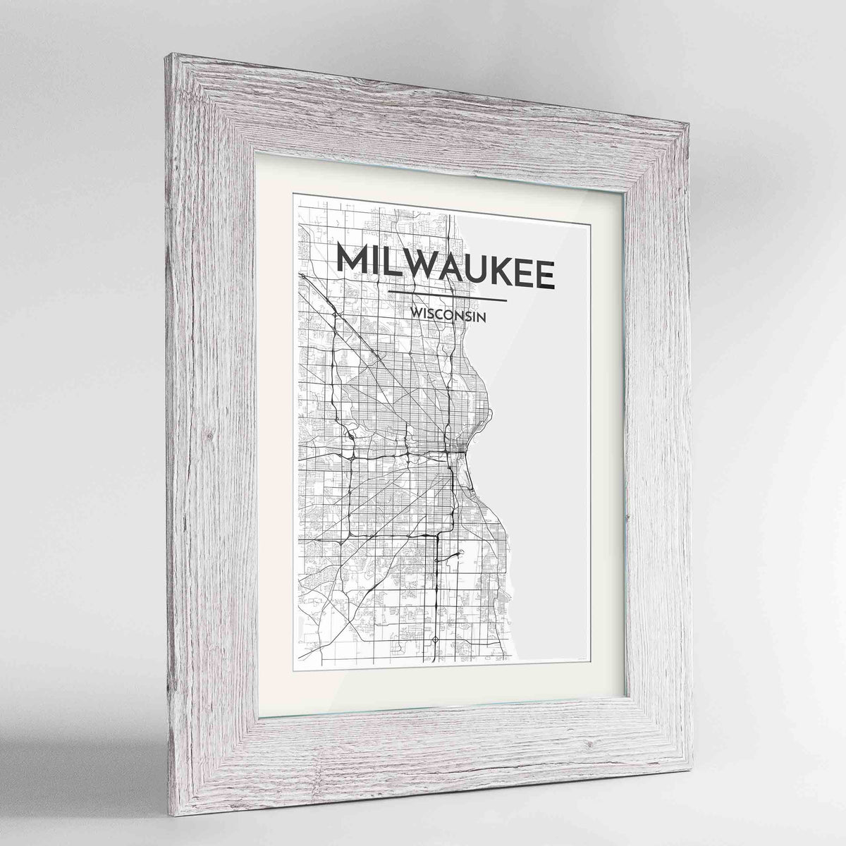 "Framed Milwaukee City Map 24x36"" Western White frame Point Two Design Group"