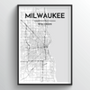 Milwaukee City Map Art Print - Point Two Design - Black and White