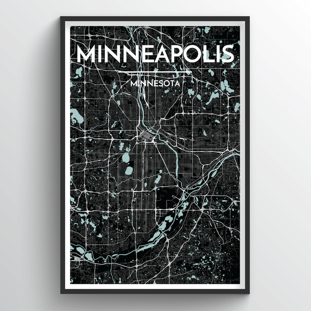 Minneapolis City Map Art Print - Point Two Design