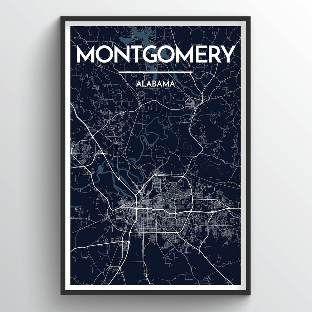 Montgomery City Map Art Print - Point Two Design