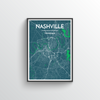 Nashville City Map Art Print - Point Two Design