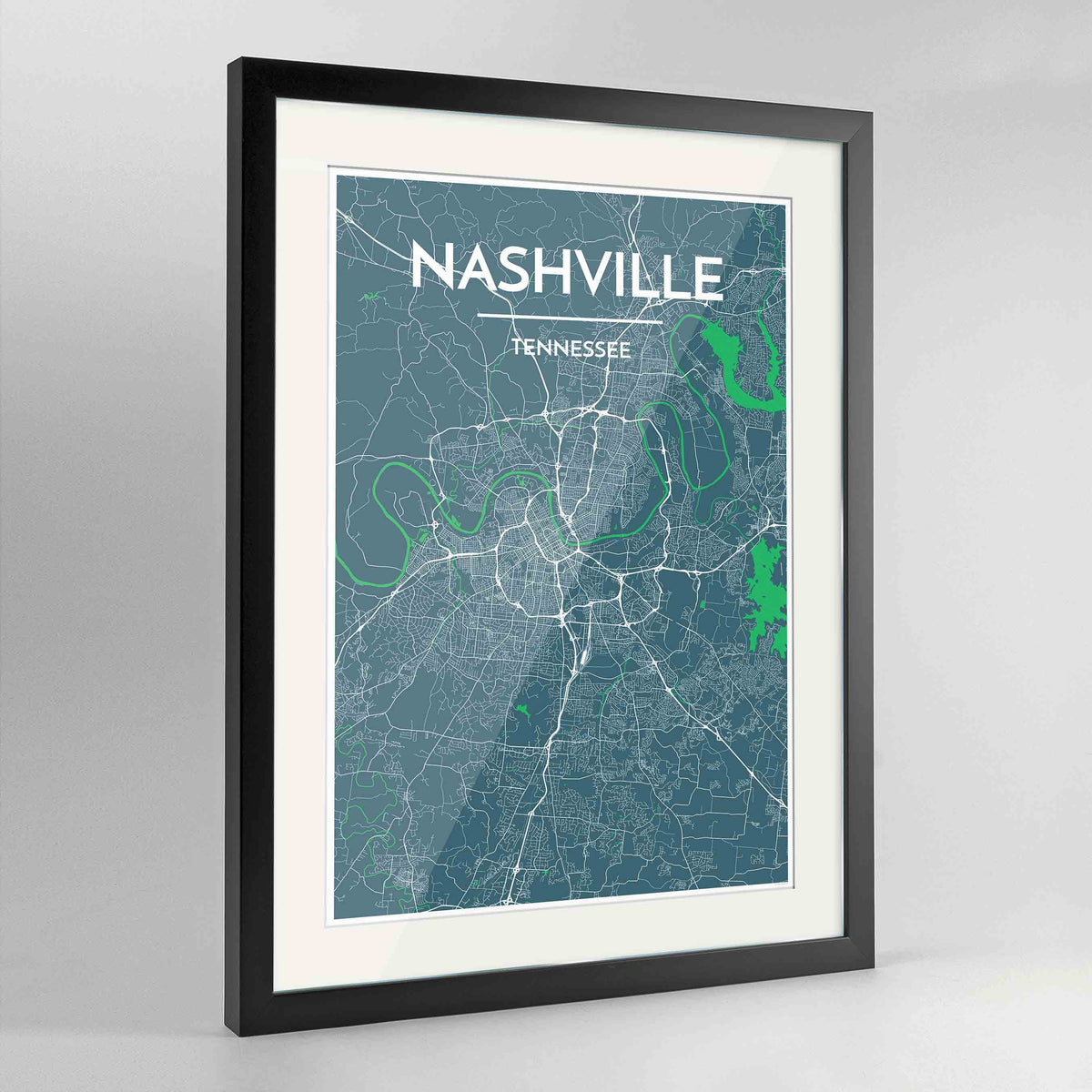 "Framed Nashville Map Art Print 24x36"" Contemporary Black frame Point Two Design Group"