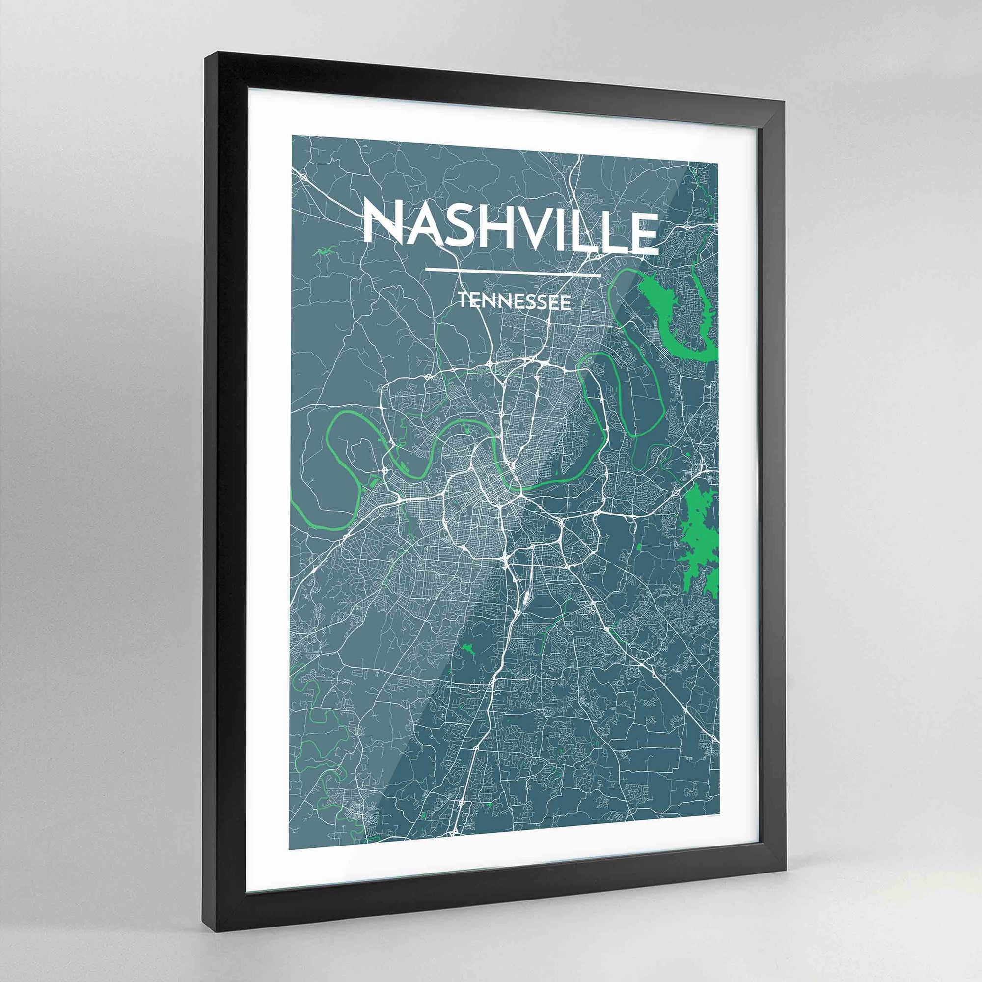 Framed Nashville City Map Art Print - Point Two Design