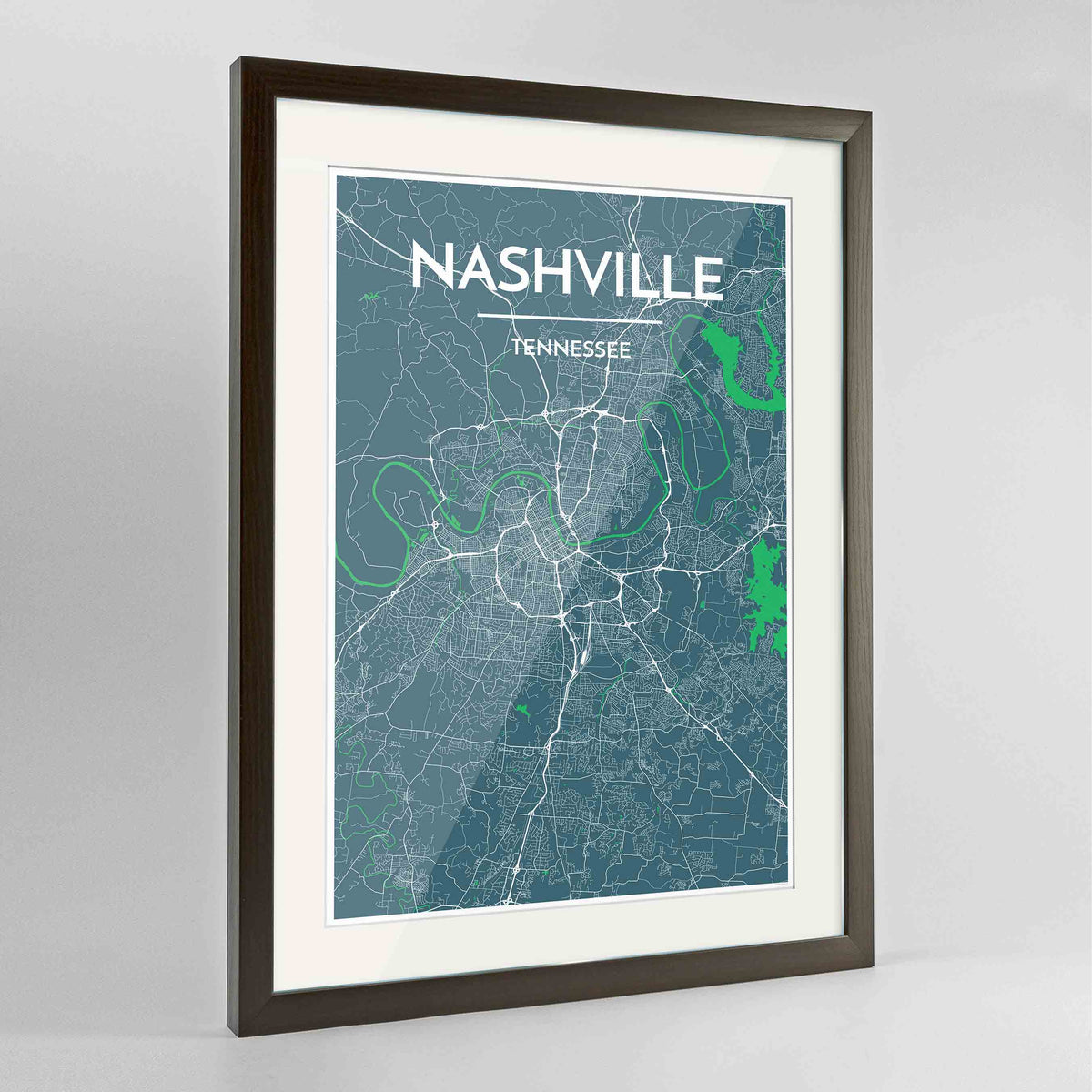 "Framed Nashville Map Art Print 24x36"" Contemporary Walnut frame Point Two Design Group"
