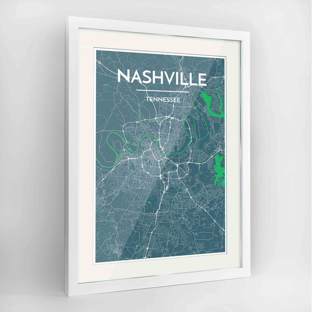 "Framed Nashville Map Art Print 24x36"" Contemporary White frame Point Two Design Group"