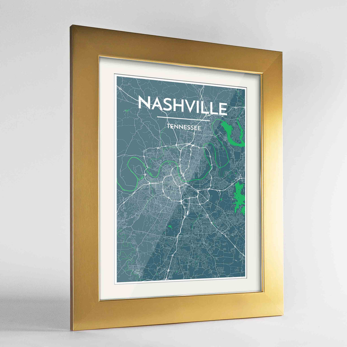 "Framed Nashville Map Art Print 24x36"" Gold frame Point Two Design Group"