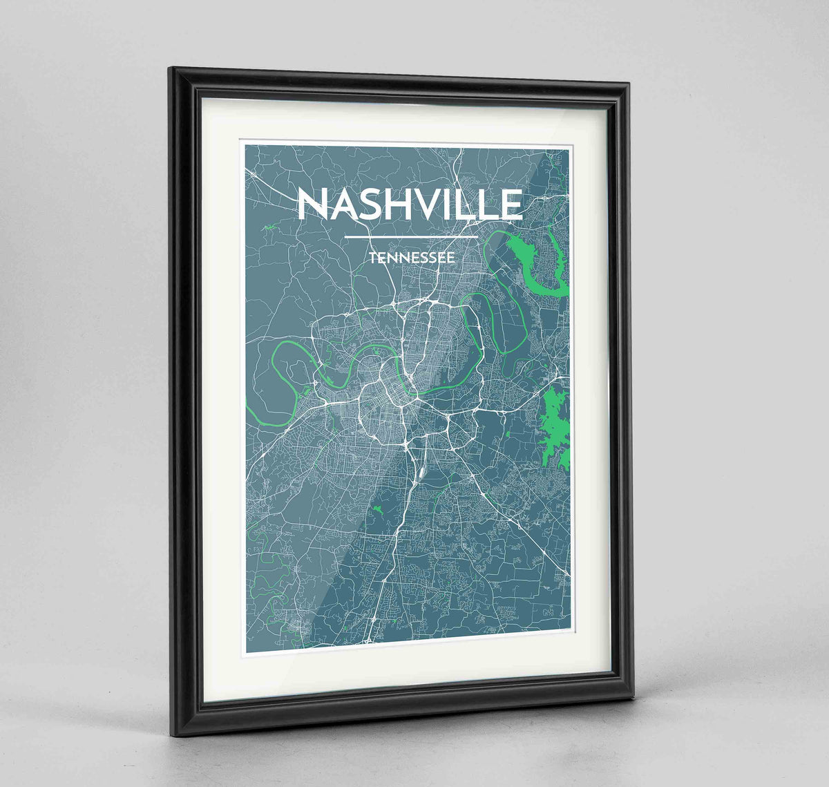 "Framed Nashville Map Art Print 24x36"" Traditional Black frame Point Two Design Group"
