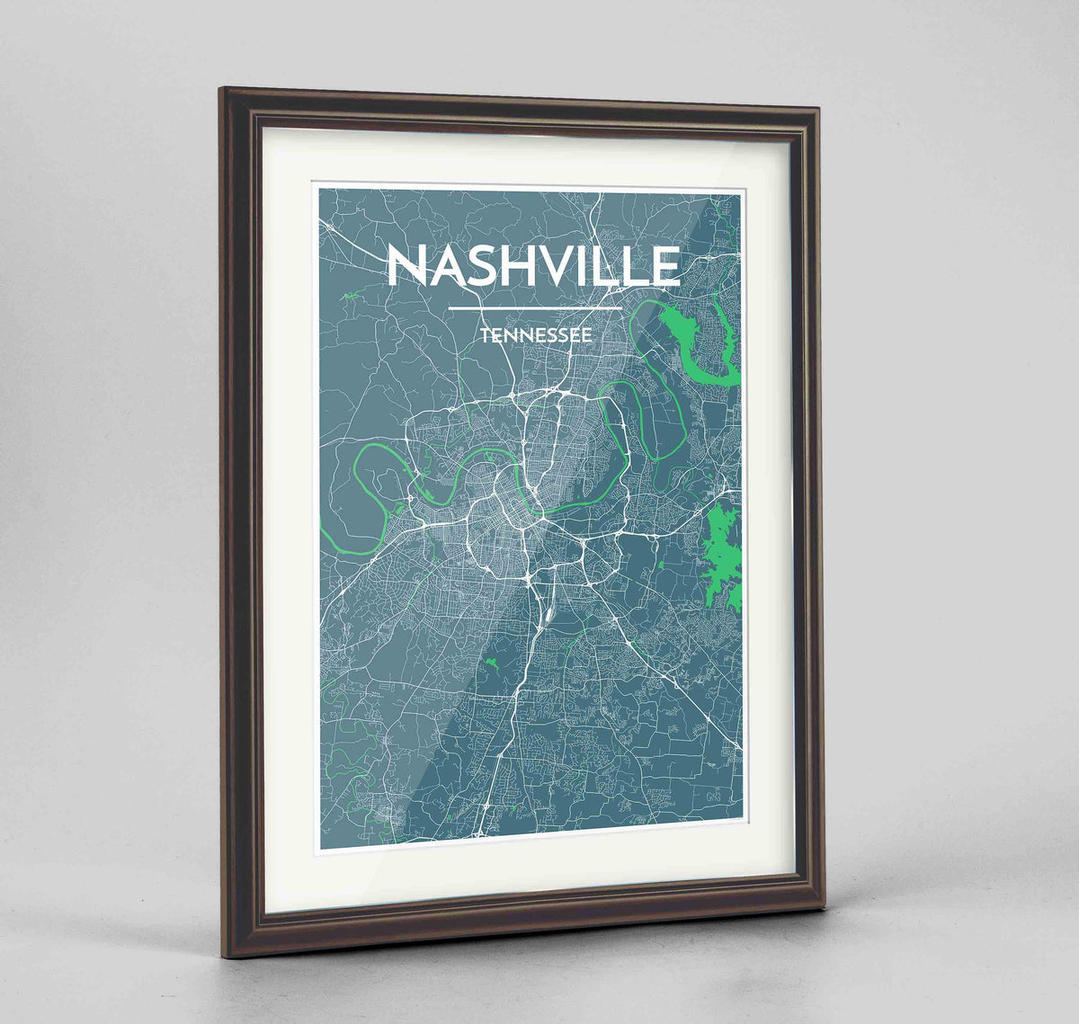"Framed Nashville Map Art Print 24x36"" Traditional Walnut frame Point Two Design Group"