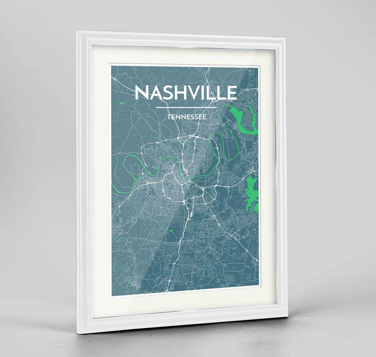 "Framed Nashville Map Art Print 24x36"" Traditional White frame Point Two Design Group"