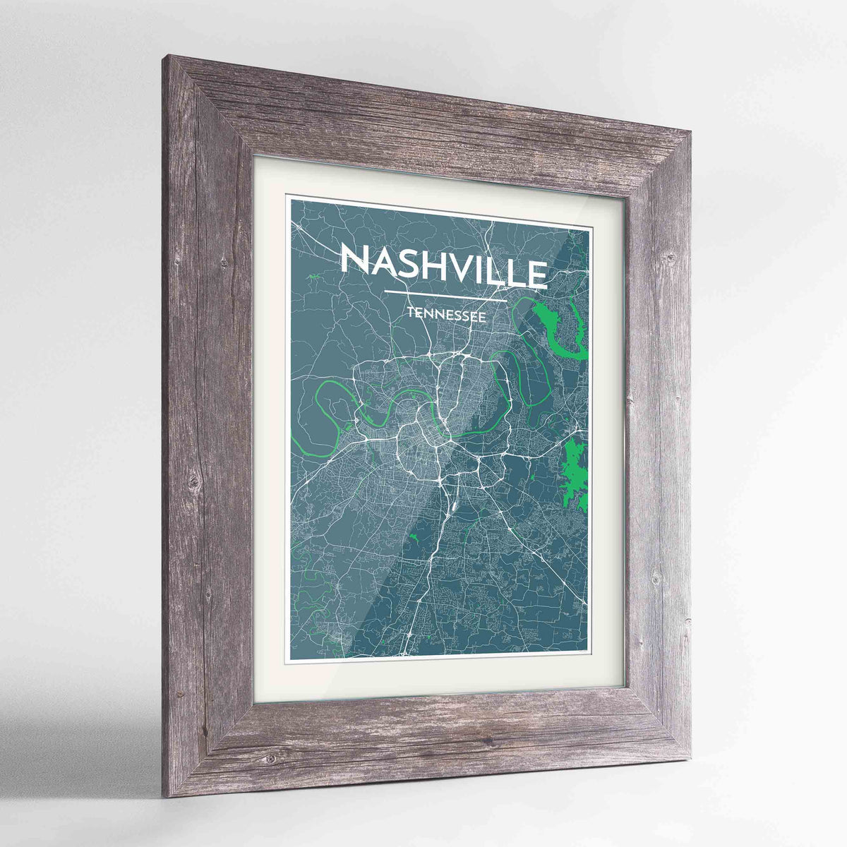"Framed Nashville Map Art Print 24x36"" Western Grey frame Point Two Design Group"