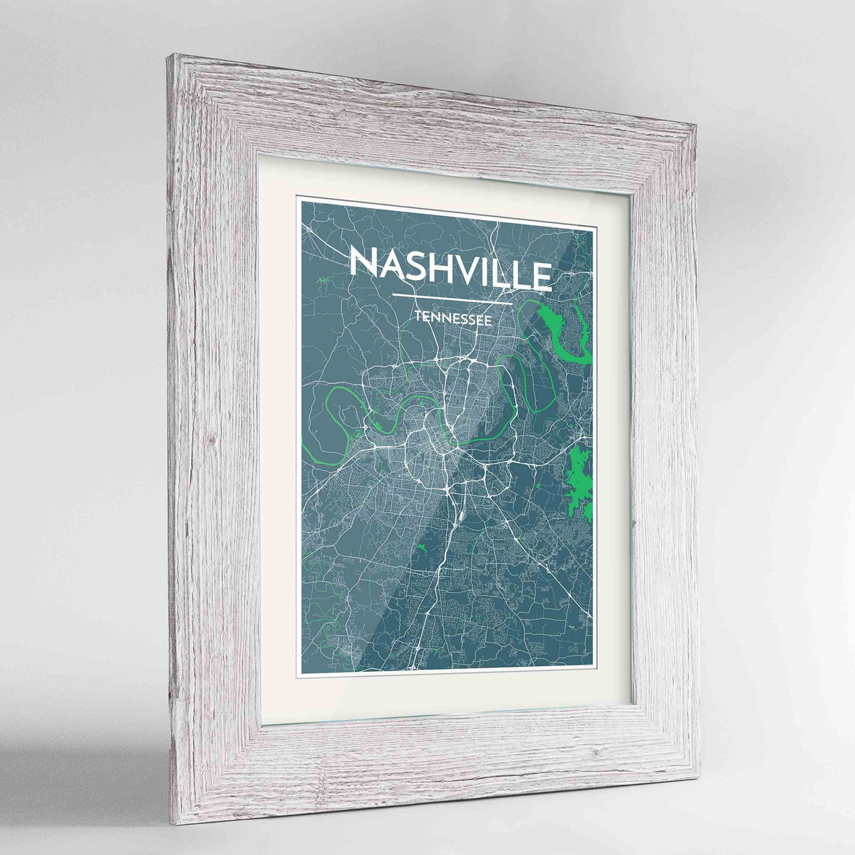 "Framed Nashville Map Art Print 24x36"" Western White frame Point Two Design Group"