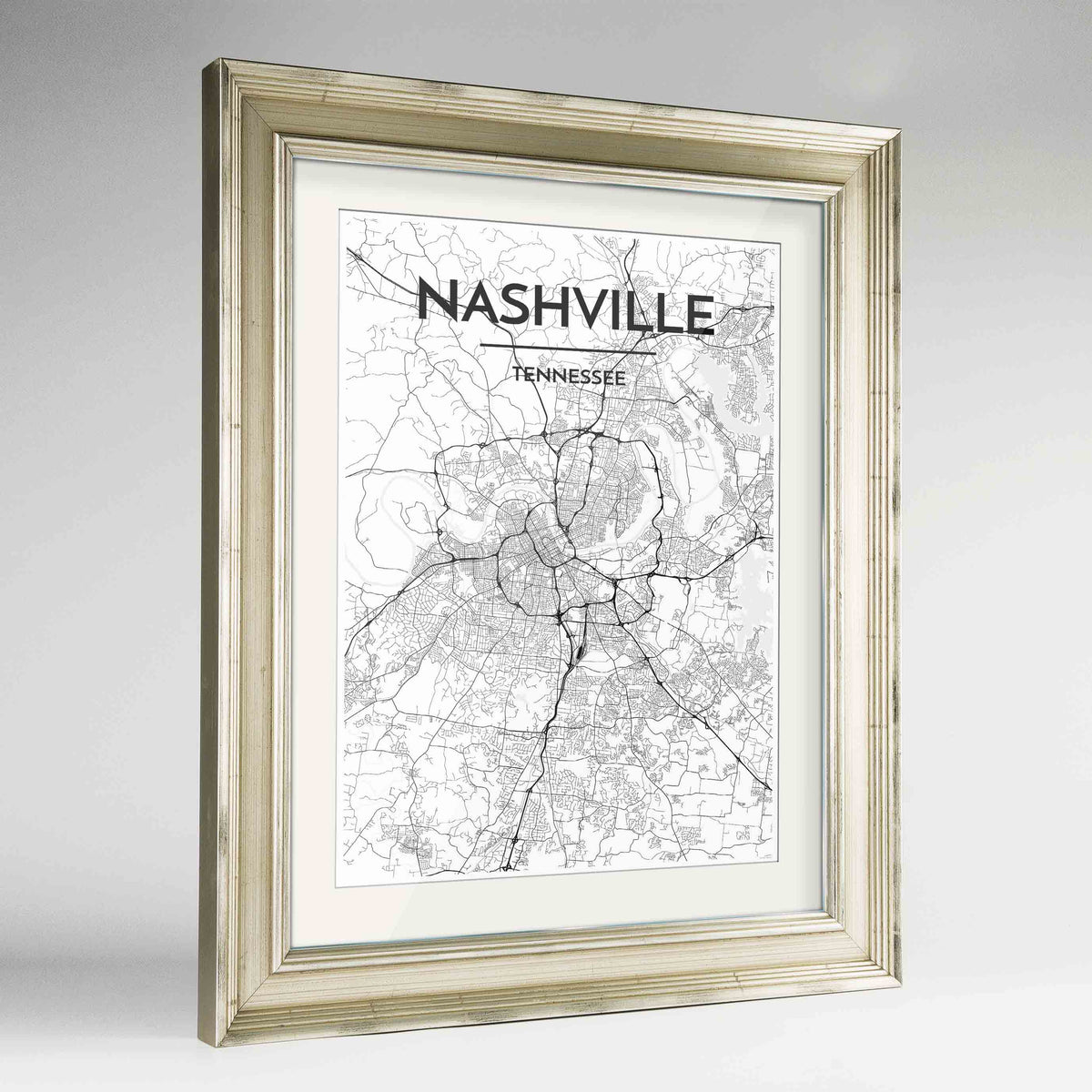 "Framed Nashville Map Art Print 24x36"" Champagne frame Point Two Design Group"