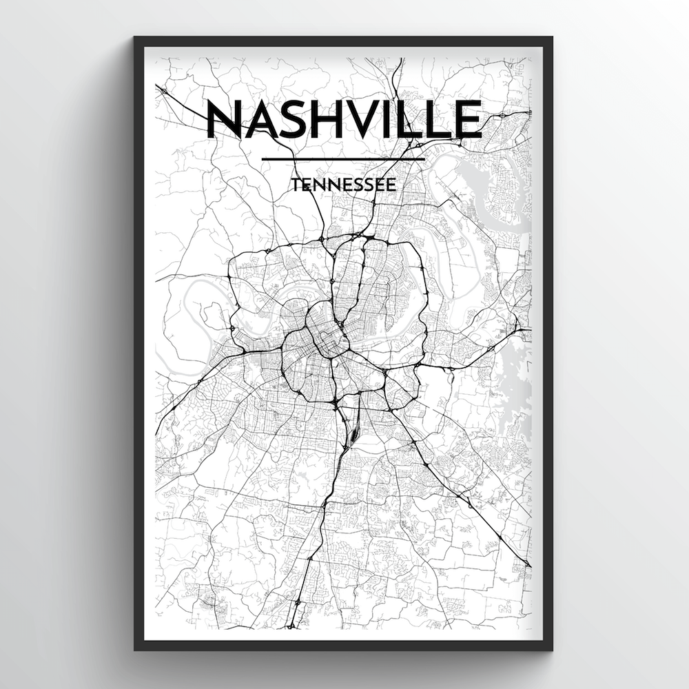 Nashville Map Art Print - Point Two Design