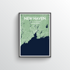 New Haven City Map Art Print - Point Two Design