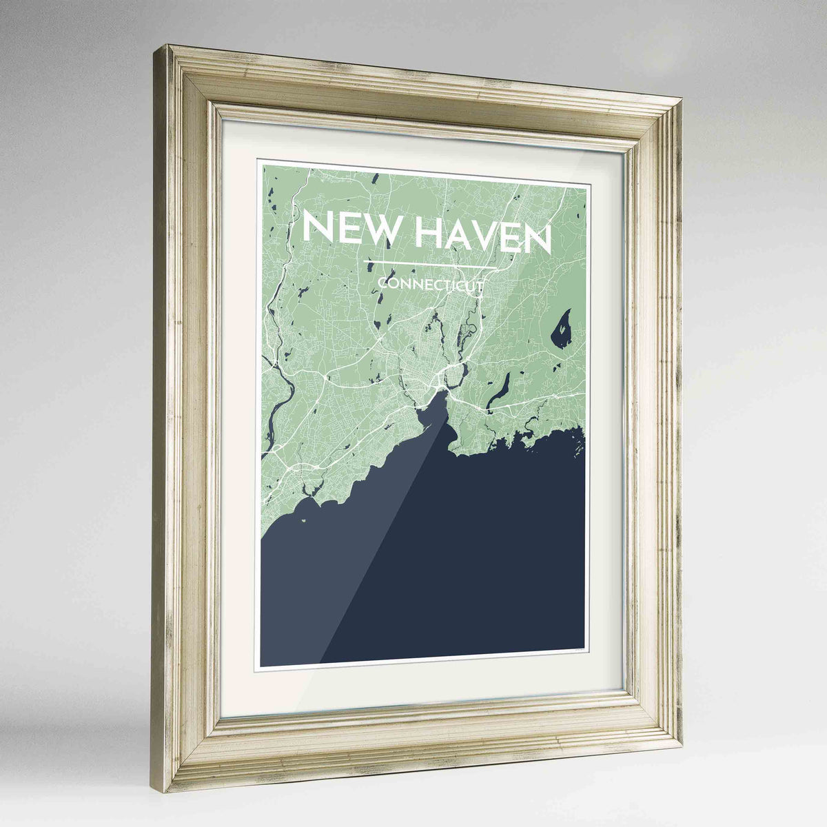 "Framed New Haven Map Art Print 24x36"" Champagne frame Point Two Design Group"