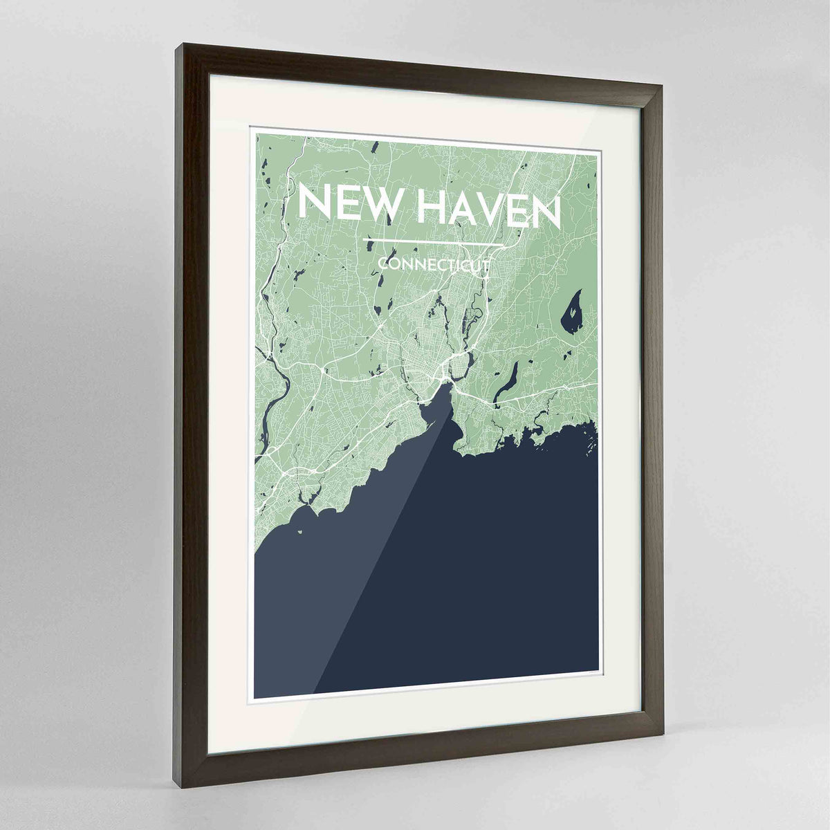 "Framed New Haven Map Art Print 24x36"" Contemporary Walnut frame Point Two Design Group"