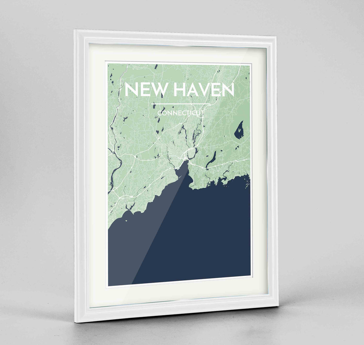 "Framed New Haven Map Art Print 24x36"" Traditional White frame Point Two Design Group"