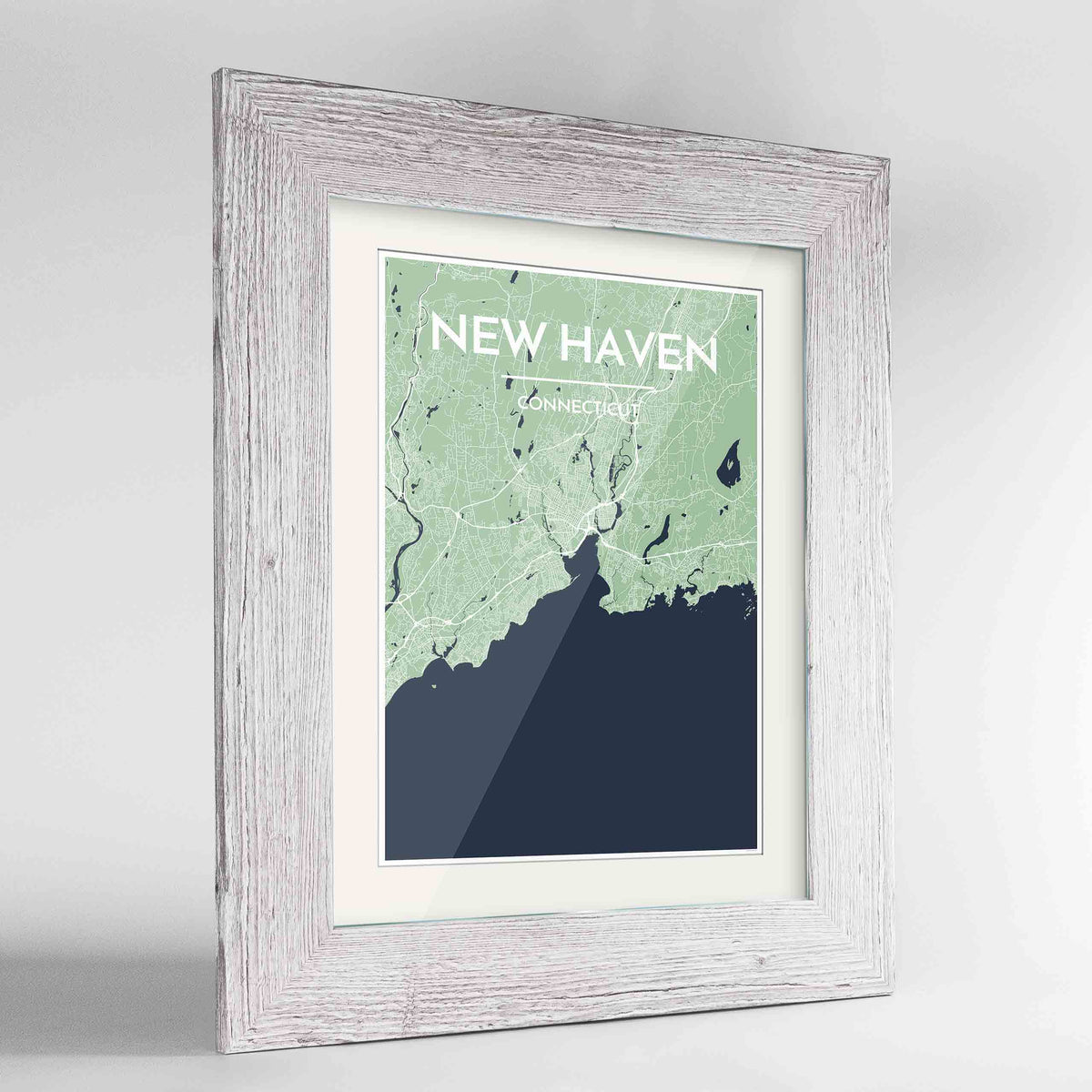 "Framed New Haven Map Art Print 24x36"" Western White frame Point Two Design Group"