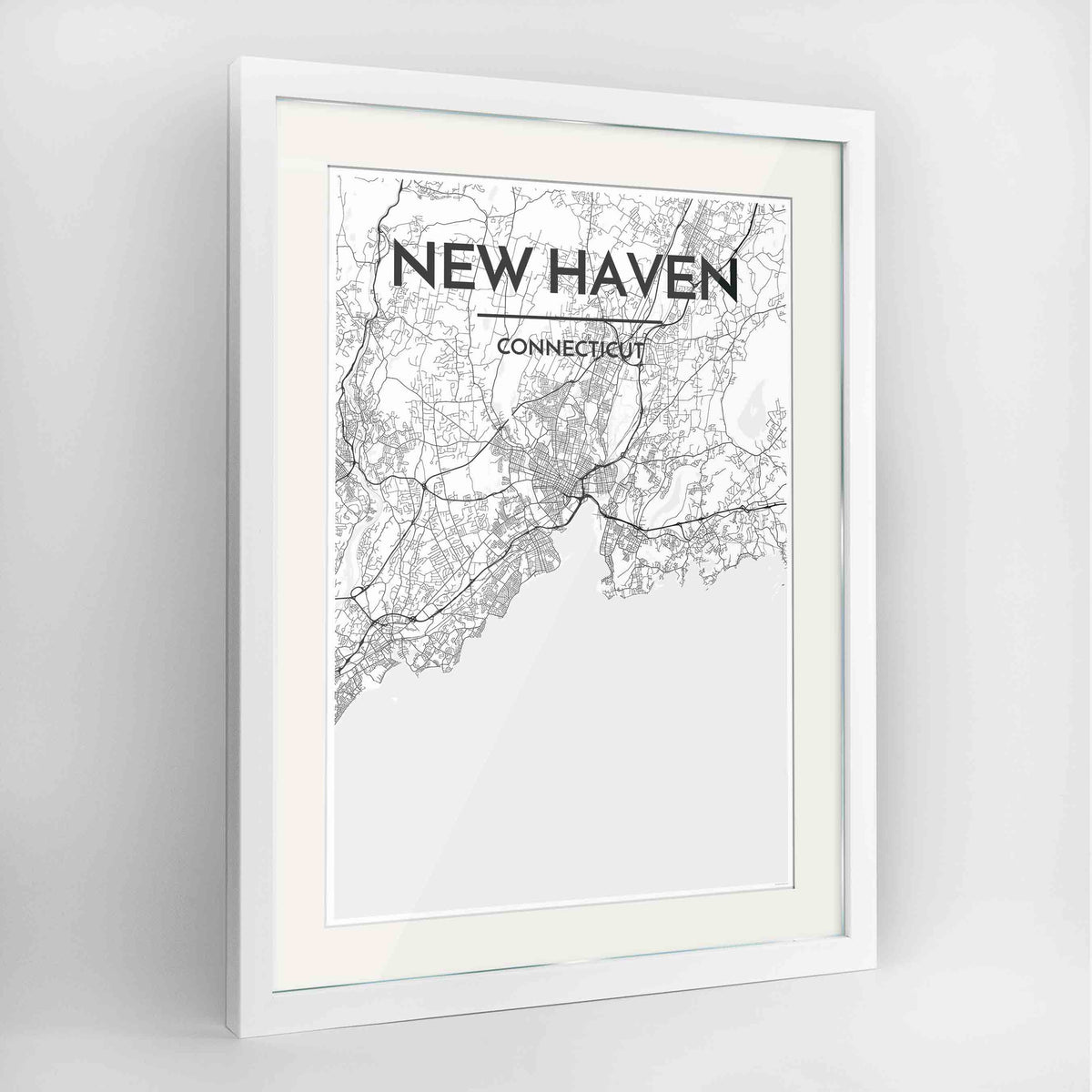 "Framed New Haven Map Art Print 24x36"" Contemporary White frame Point Two Design Group"