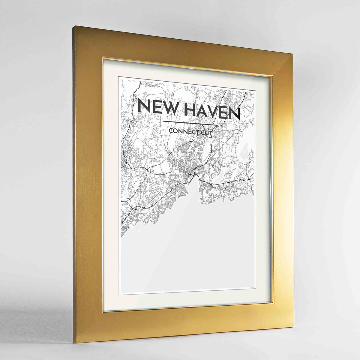 "Framed New Haven Map Art Print 24x36"" Gold frame Point Two Design Group"