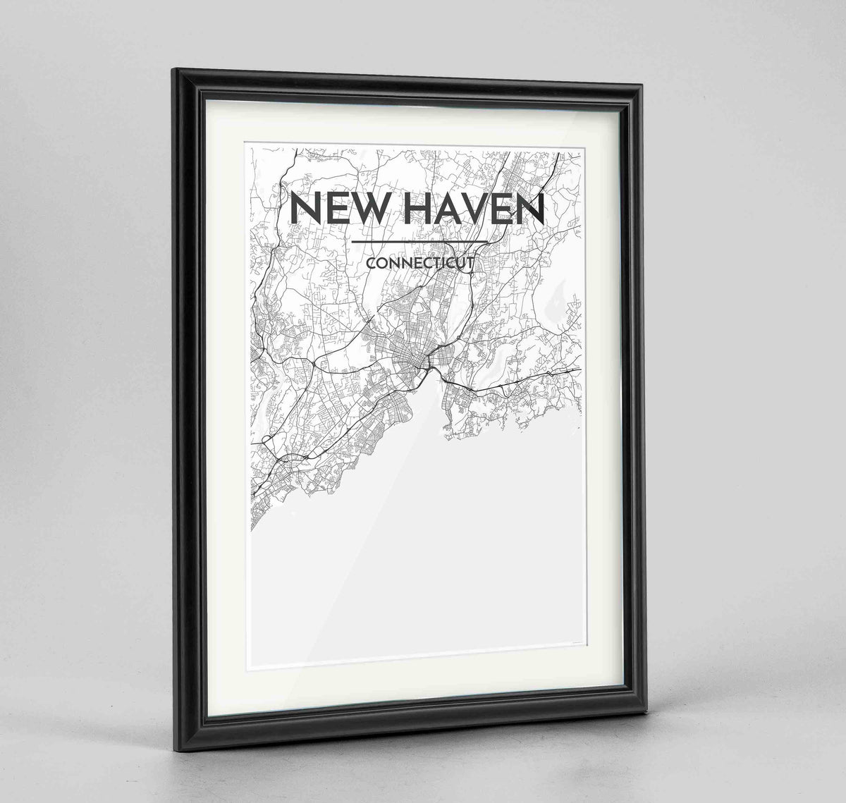 "Framed New Haven Map Art Print 24x36"" Traditional Black frame Point Two Design Group"