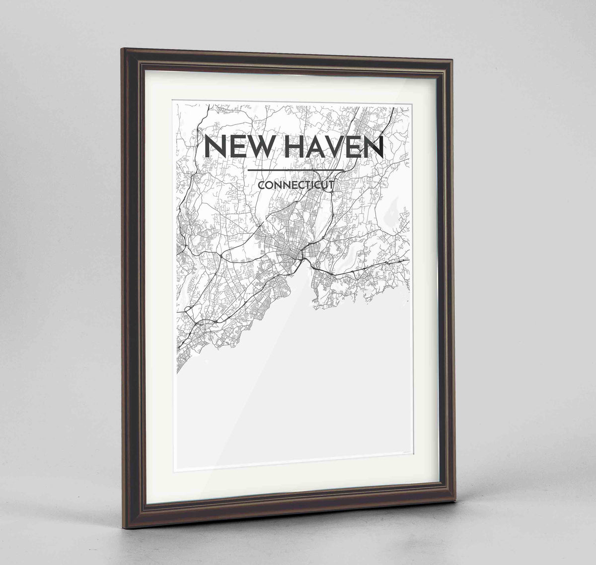 "Framed New Haven Map Art Print 24x36"" Traditional Walnut frame Point Two Design Group"