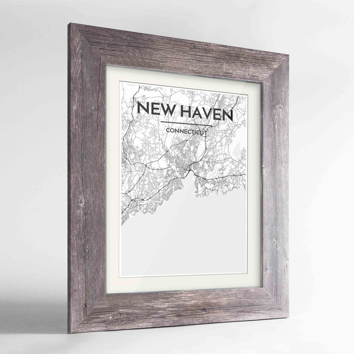 "Framed New Haven Map Art Print 24x36"" Western Grey frame Point Two Design Group"