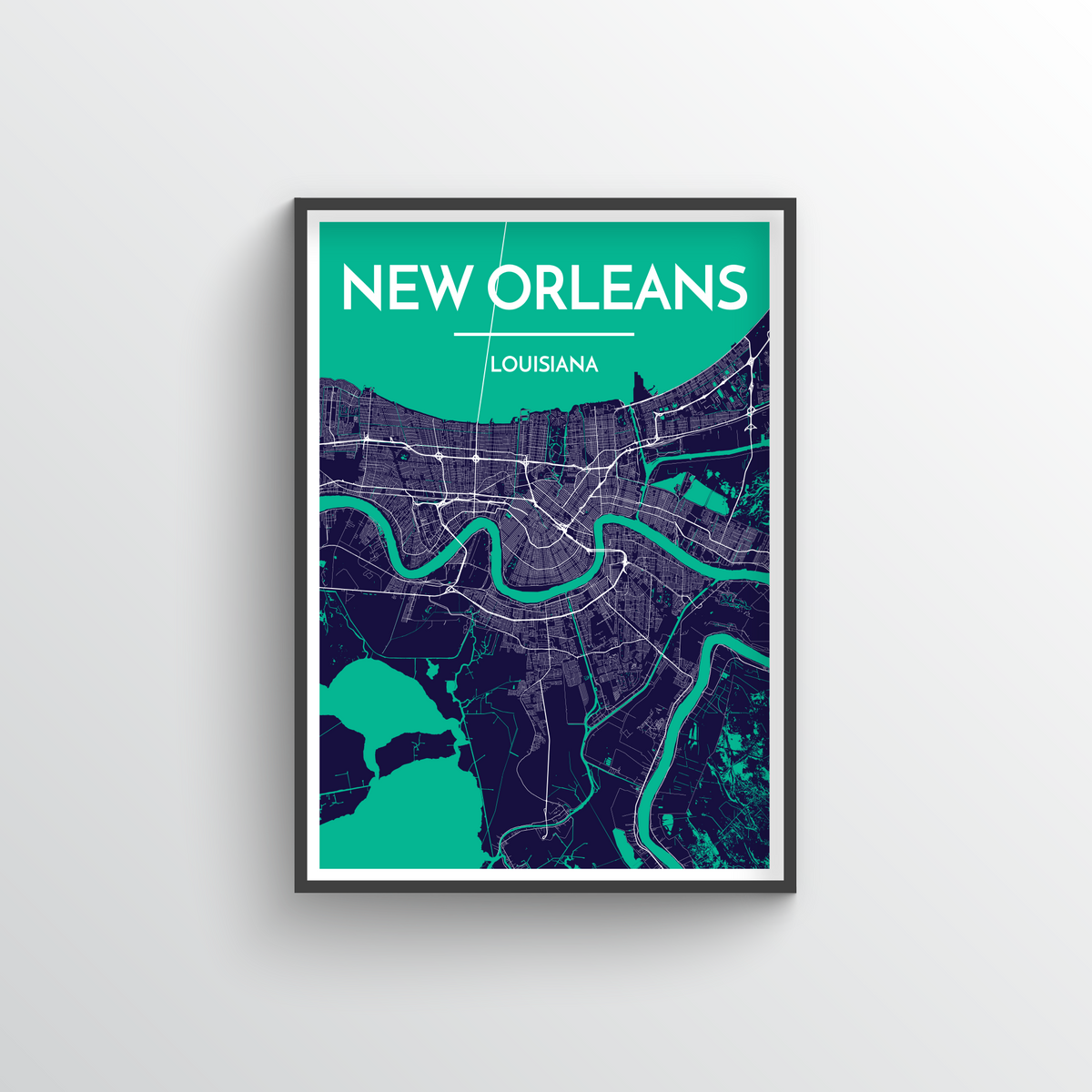 New Orleans Map Art Print - Point Two Design