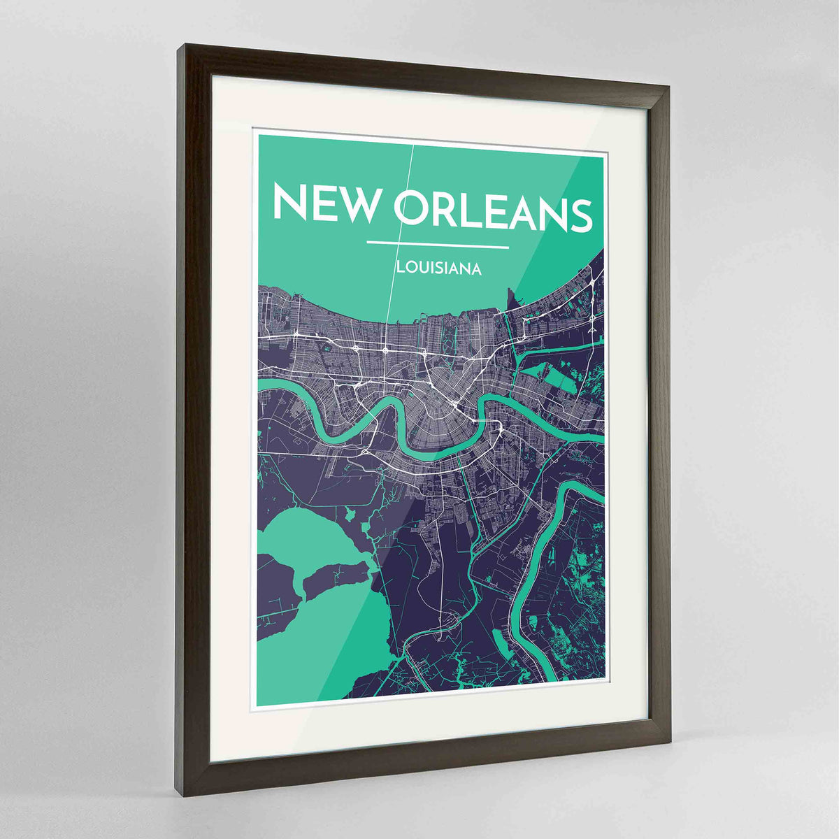 "Framed New Orleans Map Art Print 24x36"" Contemporary Walnut frame Point Two Design Group"