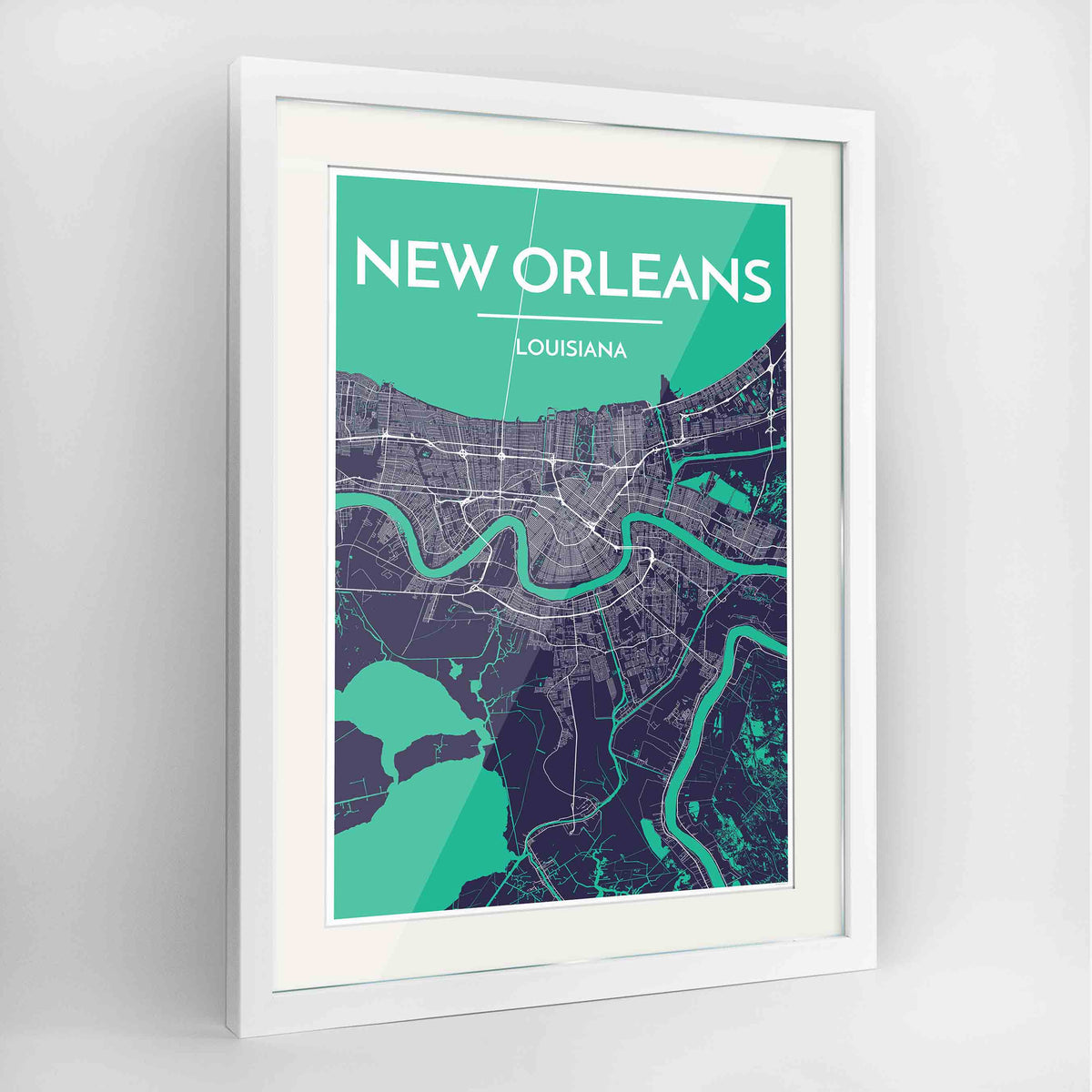 "Framed New Orleans Map Art Print 24x36"" Contemporary White frame Point Two Design Group"