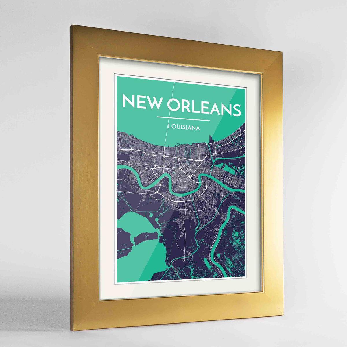 "Framed New Orleans Map Art Print 24x36"" Gold frame Point Two Design Group"