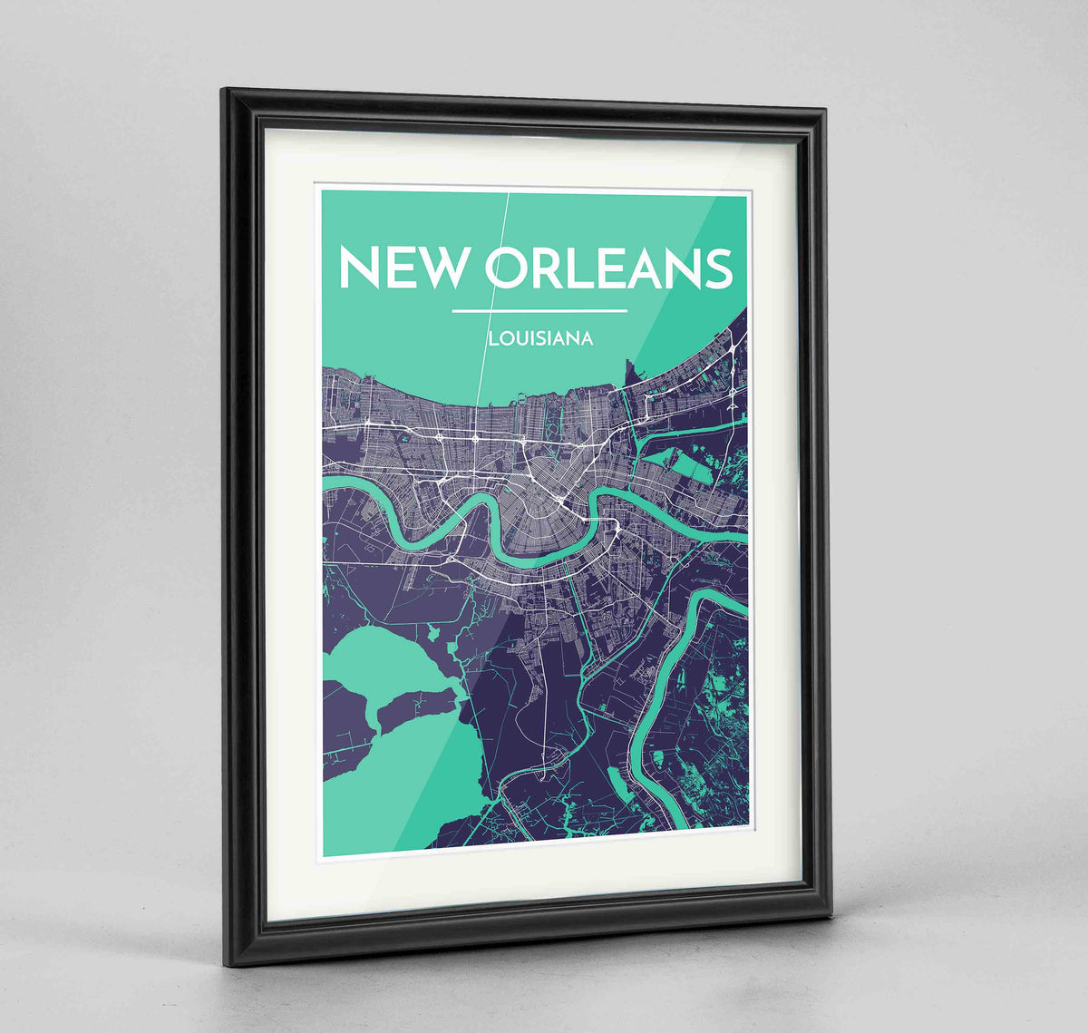 "Framed New Orleans Map Art Print 24x36"" Traditional Black frame Point Two Design Group"