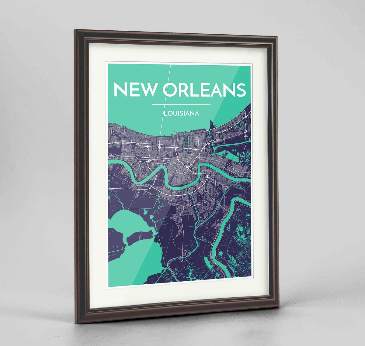 "Framed New Orleans Map Art Print 24x36"" Traditional Walnut frame Point Two Design Group"