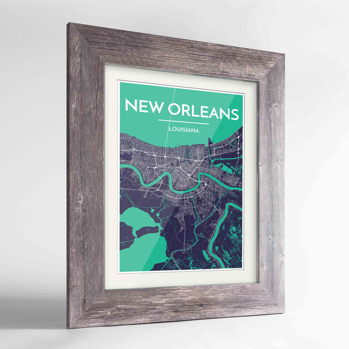 "Framed New Orleans Map Art Print 24x36"" Western Grey frame Point Two Design Group"