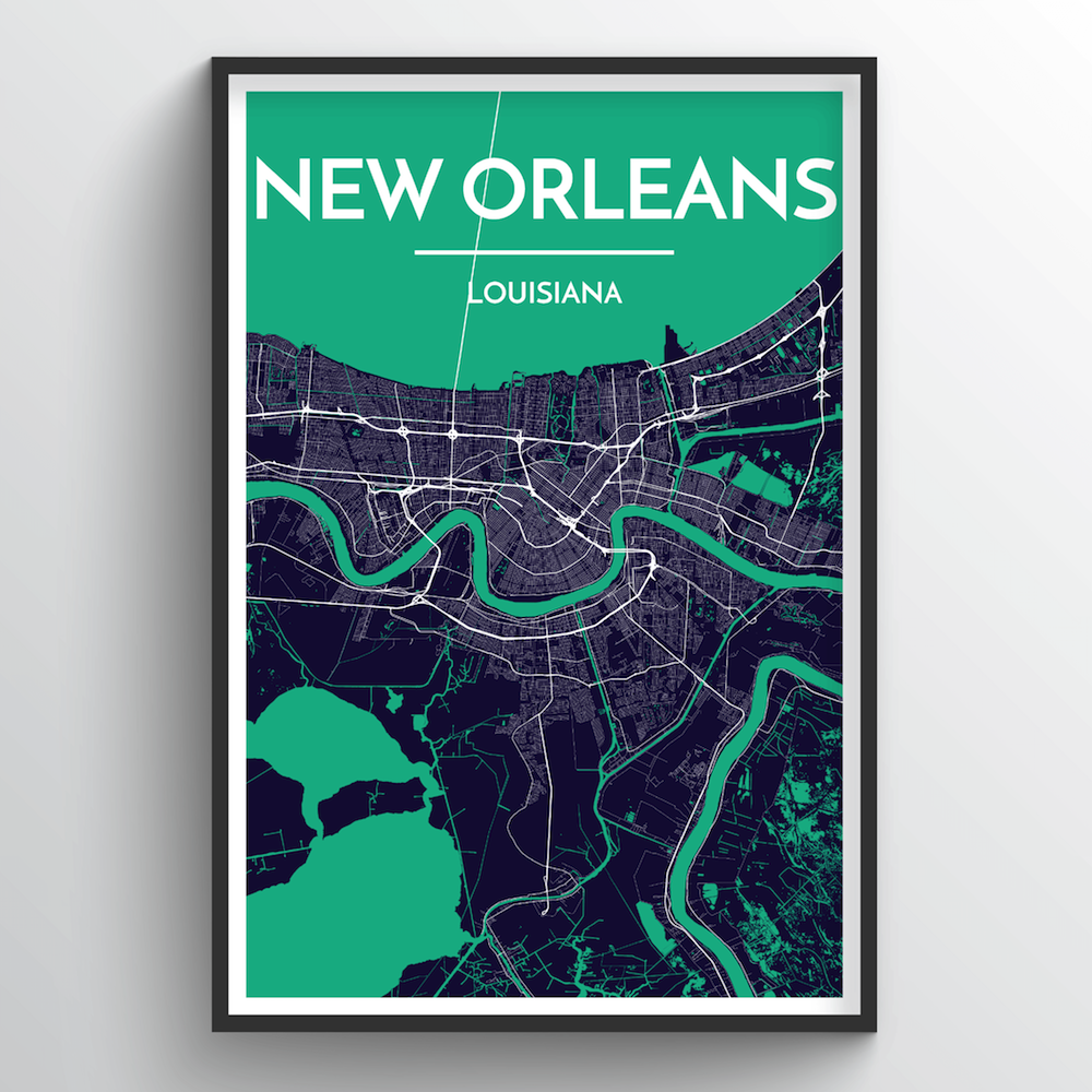 New Orleans City Map Art Print - Point Two Design