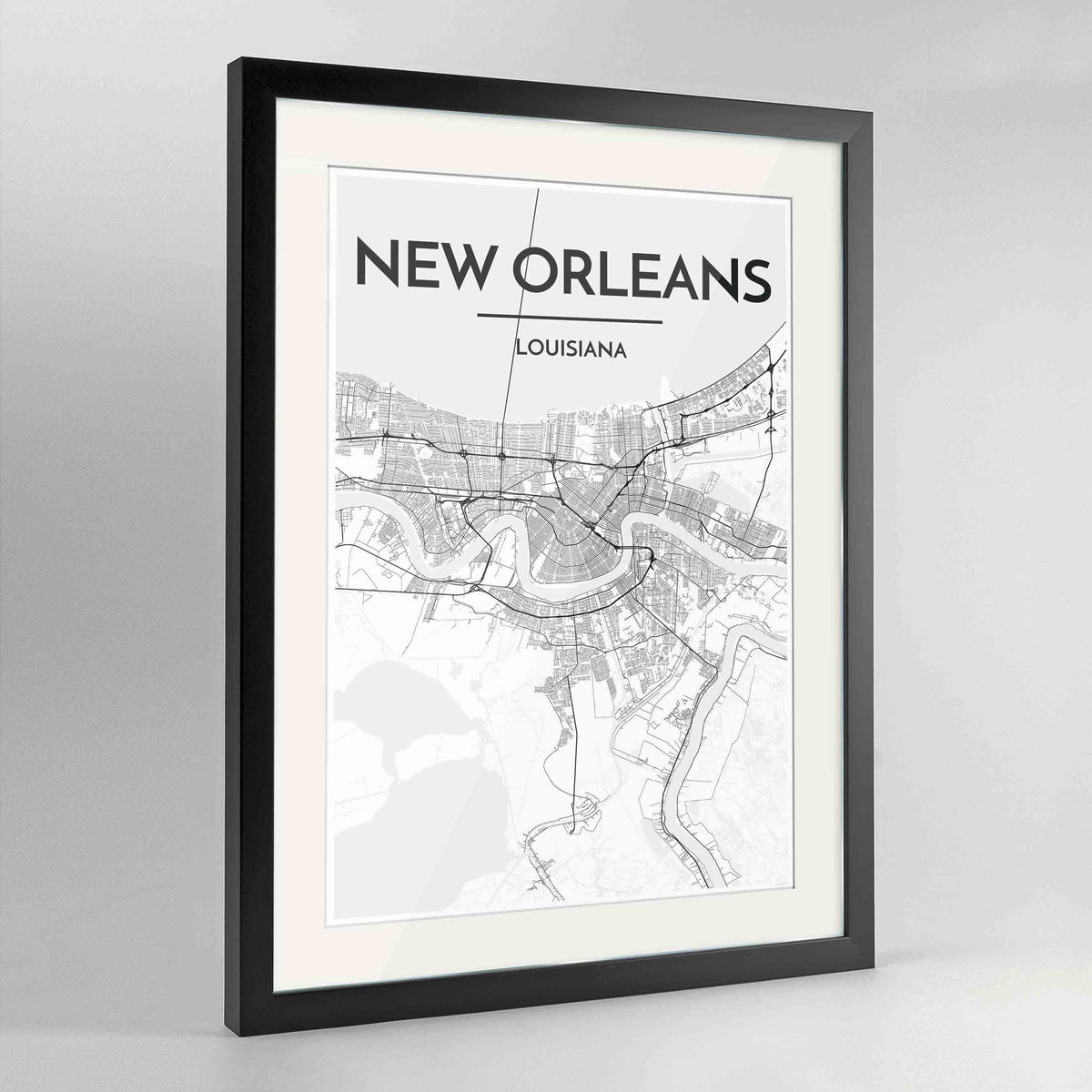 "Framed New Orleans Map Art Print 24x36"" Contemporary Black frame Point Two Design Group"