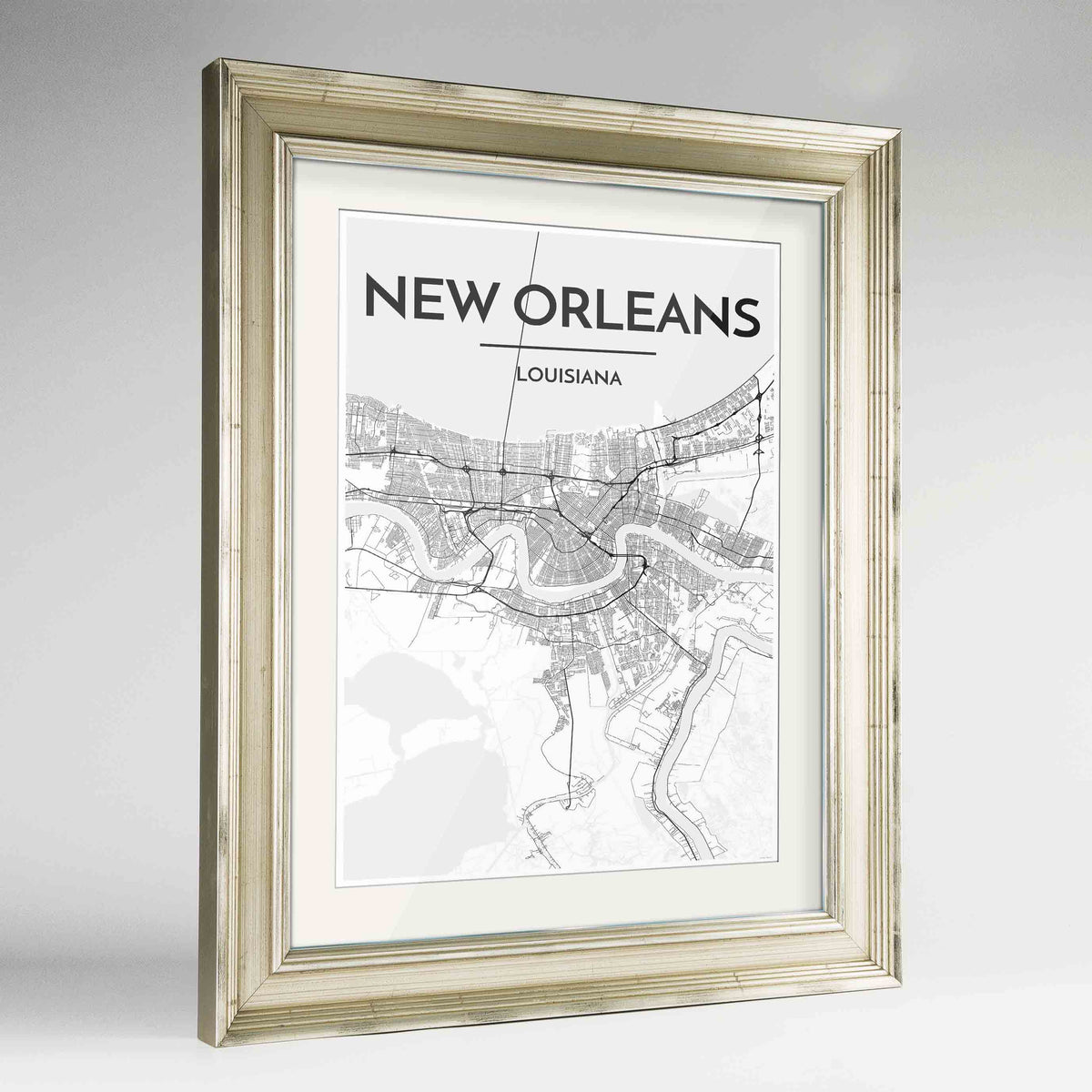 "Framed New Orleans Map Art Print 24x36"" Champagne frame Point Two Design Group"