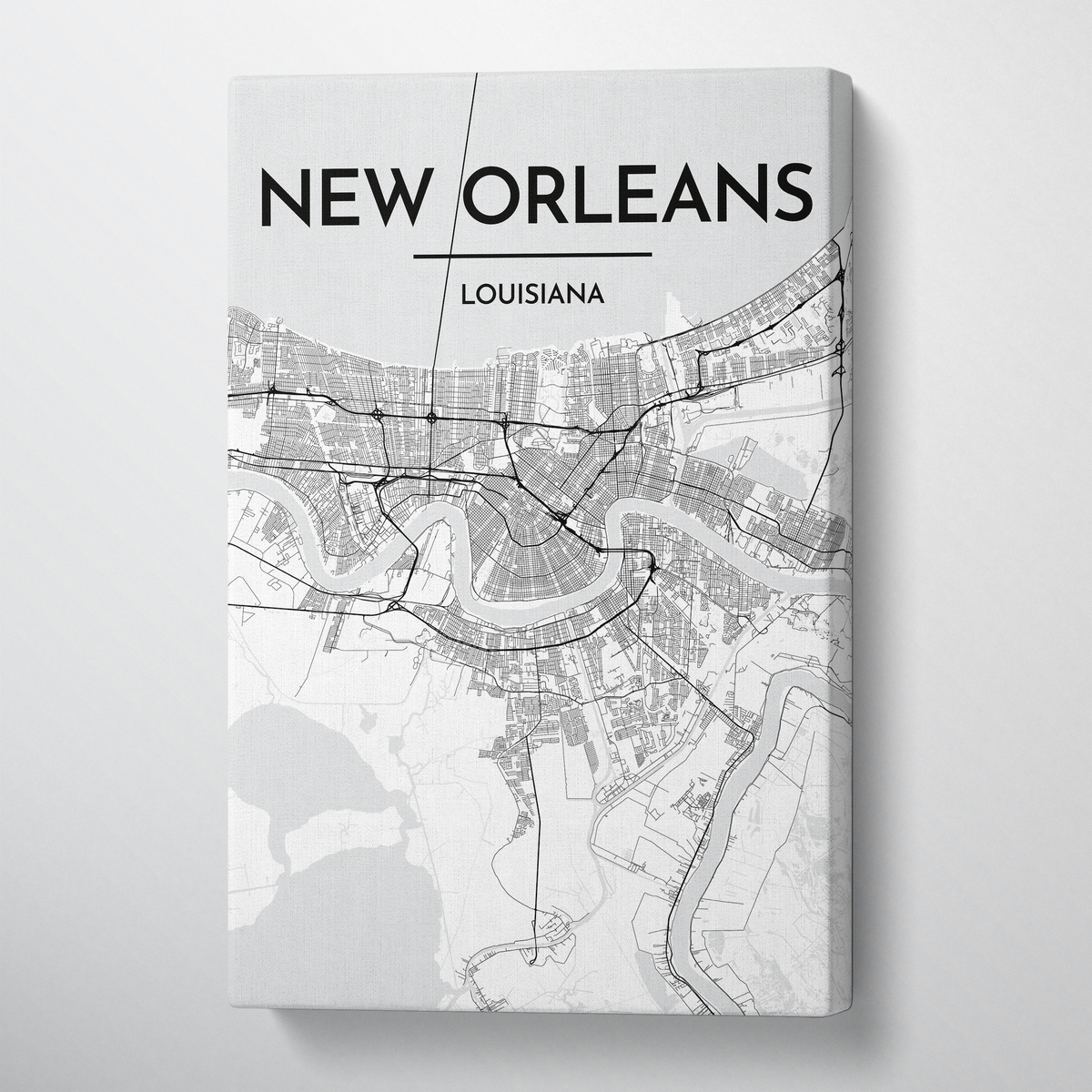 New Orleans Map Art - Canvas Wrap