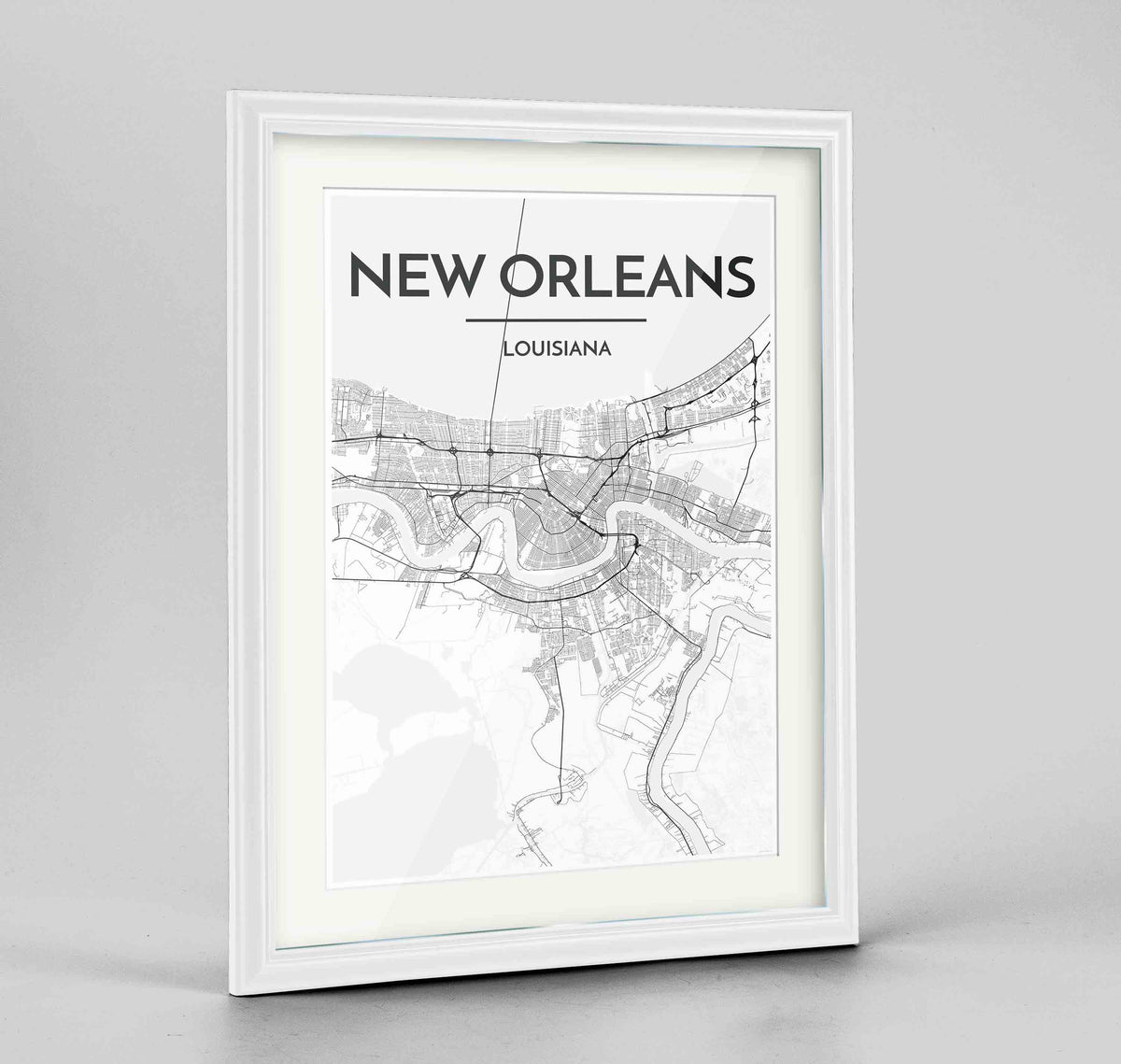 "Framed New Orleans Map Art Print 24x36"" Traditional White frame Point Two Design Group"