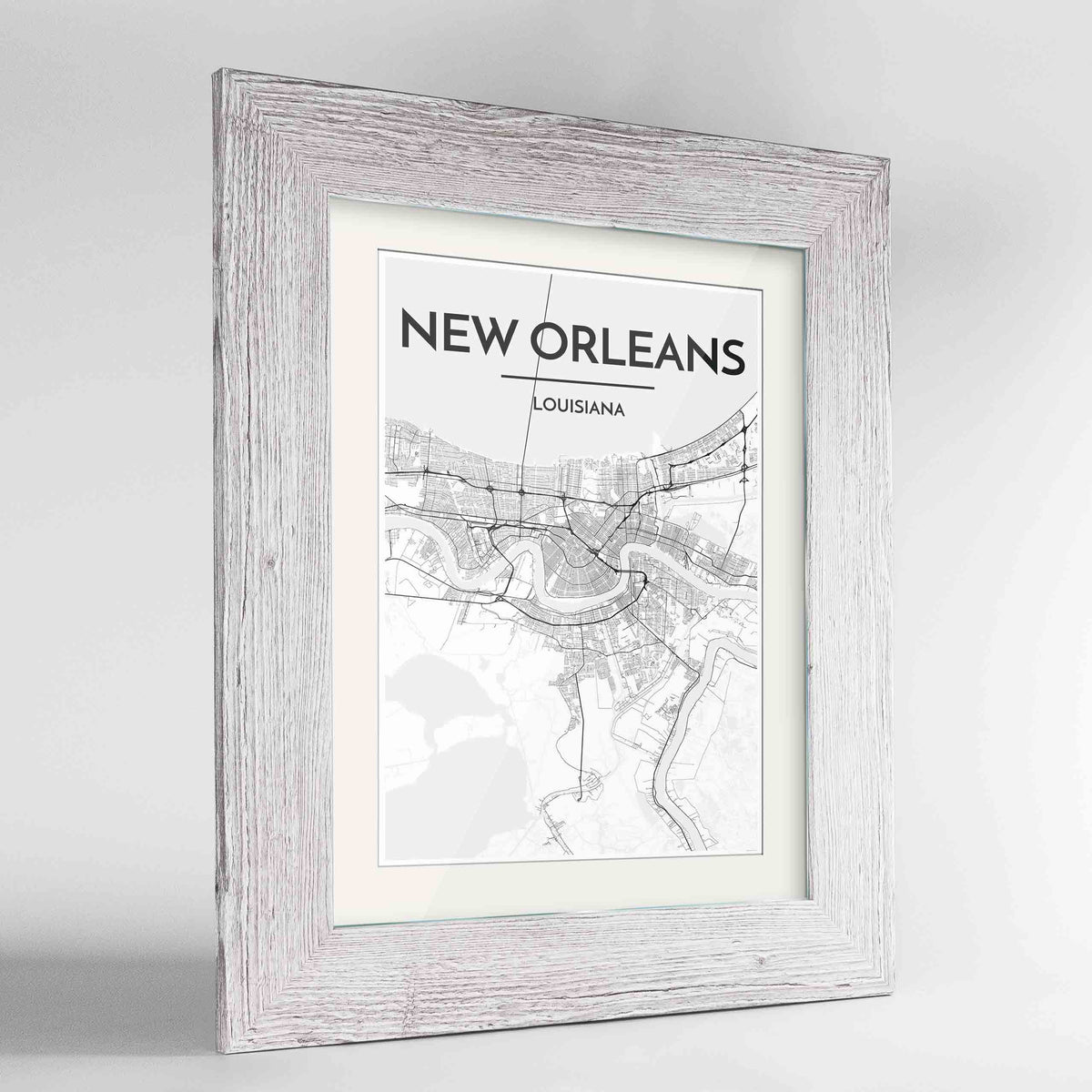 "Framed New Orleans Map Art Print 24x36"" Western White frame Point Two Design Group"