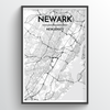 Newark City Map Art Print - Point Two Design - Black & White Print